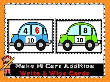 Make 10 Addition- Cars- Write & Wipe Cards