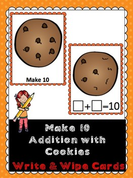Make 10 Addition- Cookies- Write & Wipe Cards