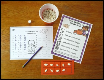Make 10 Addition Fact Strategy Game With Fall Themes