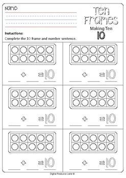 Make 10 Addition - Tens Frames