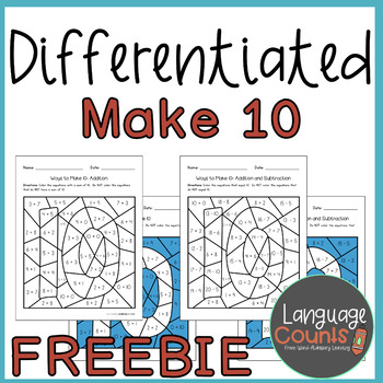 Make 10, Color By Sum/Difference Freebie