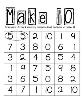 Make 10 Game - CCSS Aligned!