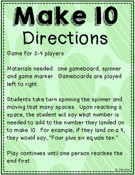 Make 10 Gameboards ~ Addition Combinations for 10