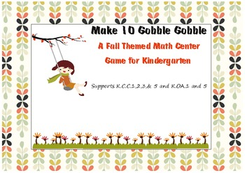 Make 10 Kindergarten Fall Themed Math Center Game: Supports Common Core