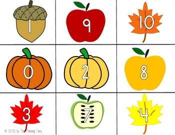Make 10: Number Bonds Concentration Game -- FALL FUN THEME!