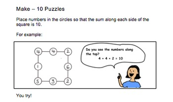Make-10 Puzzles for Kindergarten and First Grades