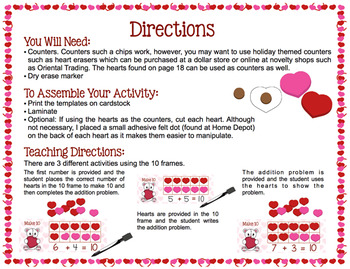 Make 10 with Ten Frames - Valentine Themed Activity