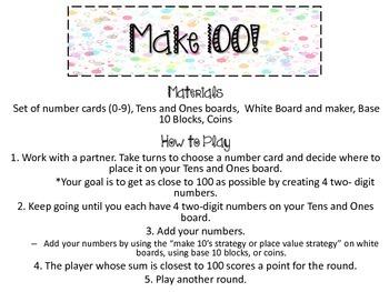 Make 100! Math Game