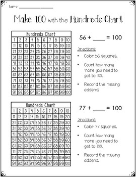 Make 100 with the Hundreds Chart {Task cards & Practice Pages}