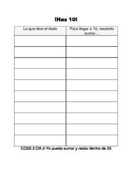 Make 10/Make 20 (In Spanish!)