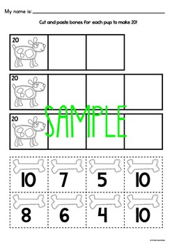 Make 20 Pup - Printable Game / Math Center - Addition