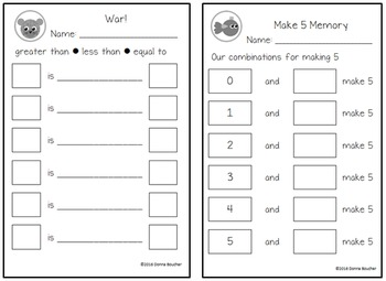 Make 5 Memory and War (Combinations for 5 and Comparing)