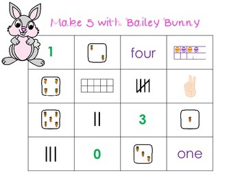 Make 5 With Bailey Bunny - A 4 In A Row  Addition Game