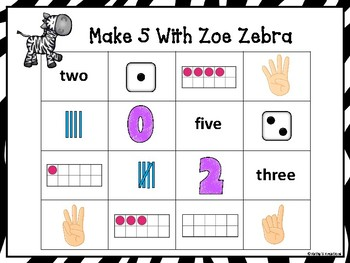 Make 5 with Zoe Zebra (A Four In A Row Addition Game)