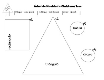 Make A Christmas Tree With Shapes in Spanish