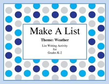 List Writing- Weather Theme