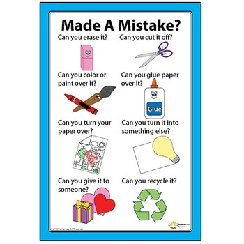 Make Or Made A Mistake Poster Mistakes Are Ok! Fix Your Mistakes Sign