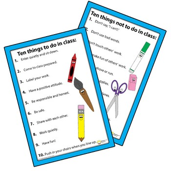 Classroom Rules Poster Do's and Don't Of Class Student Exp