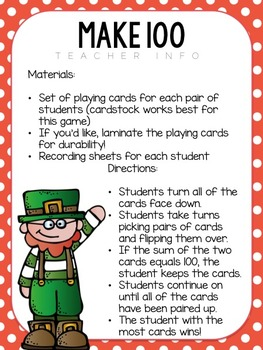 Make A Number Card Game - A Saint Patrick's Day Activity