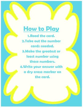 Make A Number Place Value Game