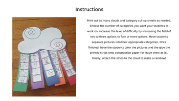 Make A Rainbow Category Cut Ups; Category Separation; Language Therapy