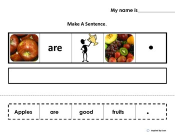 """Make A Sentence About """"FRUITS"""" for Autism"""