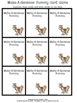 Make-A-Sentence Rummy Card Game