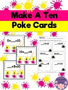 Make A Ten Missing Addend Poke Cards