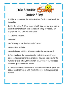 Make-A-Word Booklet-End of Year/Summer