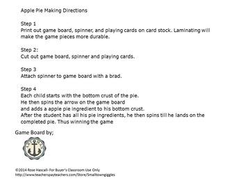 Make An Apple Pie Board Game Preschool, Kindergarten, Autism, Special Ed