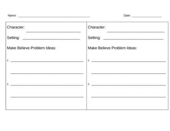 Make Believe Problem Idea Brainstorming Sheet