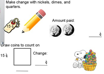 Make Change with Nickels, Dimes, and Quarters (Flipchart)