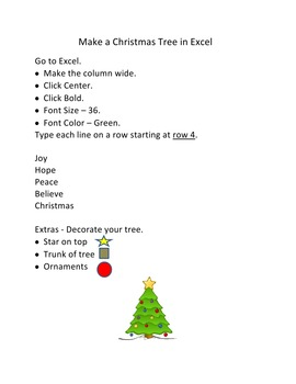 Make Christmas Trees in Microsoft Excel for 1st-3rd Grade