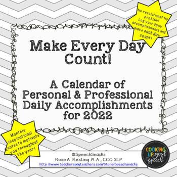 make every day count a mini calendar for 2018 free by speechsnacks