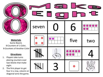 Make Eight - A 2-Player Addition Game to Make Sums of Eight