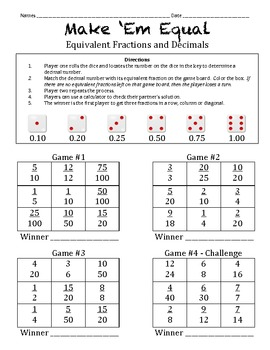 how to find equivalent decimals