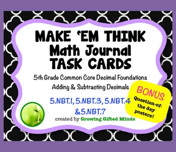 Make 'Em Think Math Journal Prompt-Decimal Foundations & Adding/Subtracting