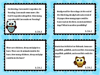 1st Grade Operations & Algebra Make 'Em Think Math Reasoning Prompts