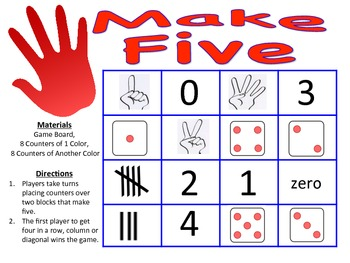 Make Five - A 2-Player Addition Game to Make Sums of Five