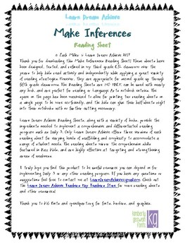 Make Inferences Reading Sheets for Daily 5 and Raz Kids