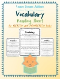 Vocabulary Reading Sheets for Daily 5 and Raz Kids