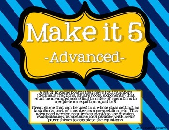 Make It 5 - Decimal Math Game (advanced)
