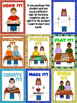 Make It! EDITABLE Makerspace Signs & Clip Art