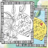 Coloring Book Page Printable, Lemons, Growth Mindset, Positive Encouragement