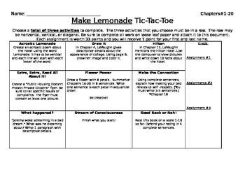 Make Lemonade Tic-Tac Toe Activities for Part 1