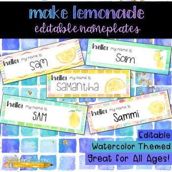 Make Lemonade Watercolor Editable Nameplates