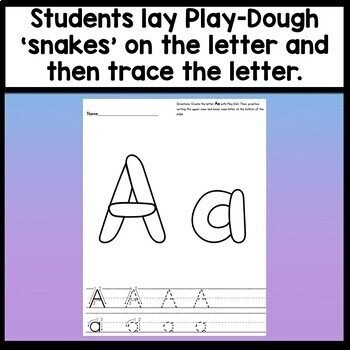 Alphabet Playdough Mats with Handwriting Lines {26 Pages A-Z!}