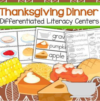 THANKSGIVING Dinner Literacy Centers for Preschool and Kin