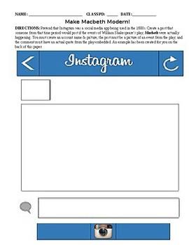 Make Macbeth Modern Instagram Activity