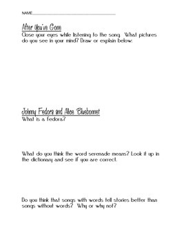 Make Mine Music Disney movie worksheet follow along